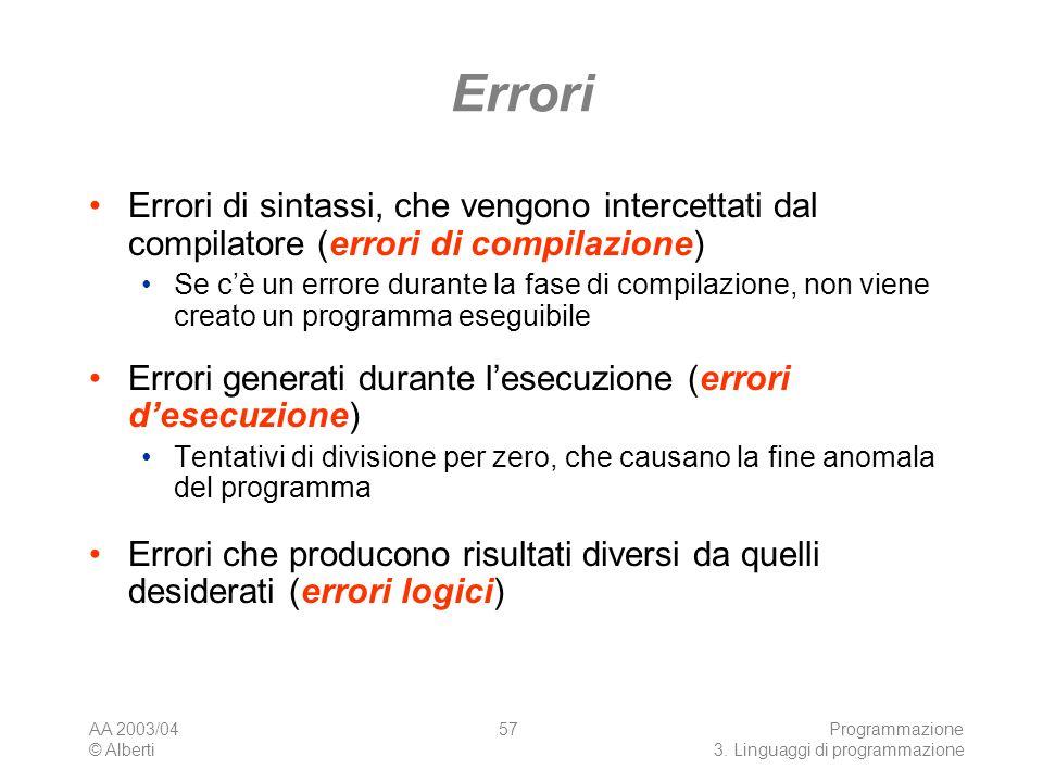 Errori Errori di sintassi, che vengono intercettati dal compilatore (errori di compilazione)