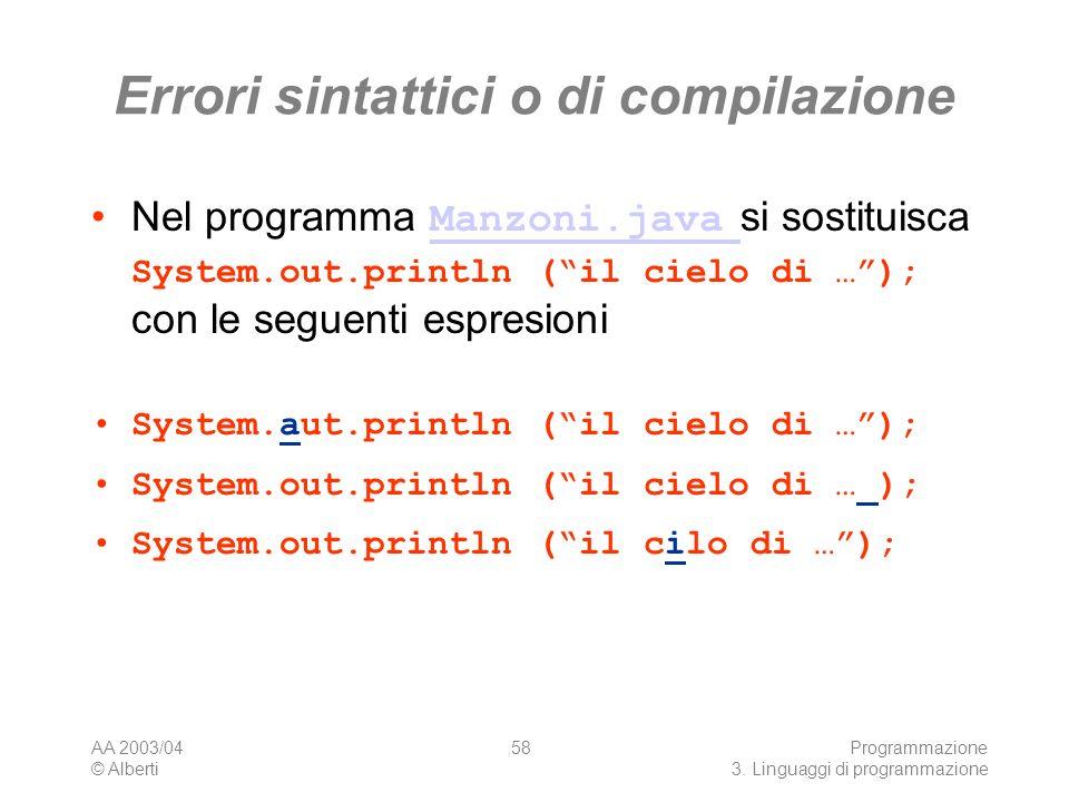 Errori sintattici o di compilazione
