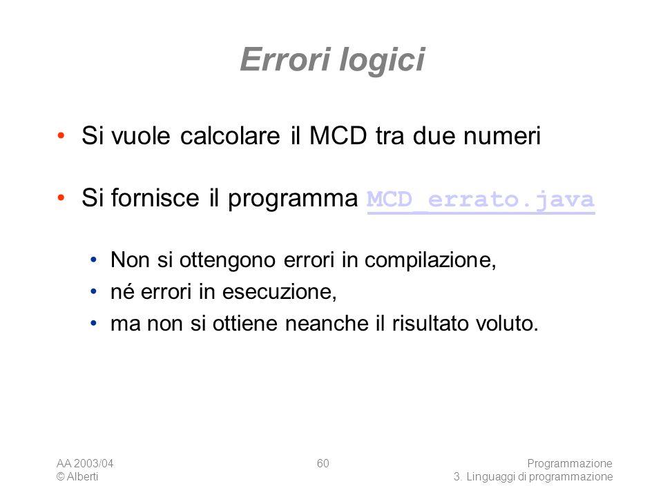 Errori logici Si vuole calcolare il MCD tra due numeri