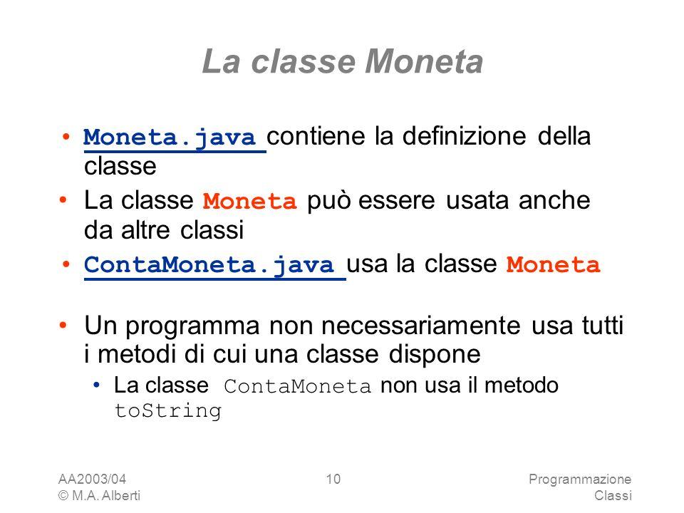 La classe Moneta Moneta.java contiene la definizione della classe