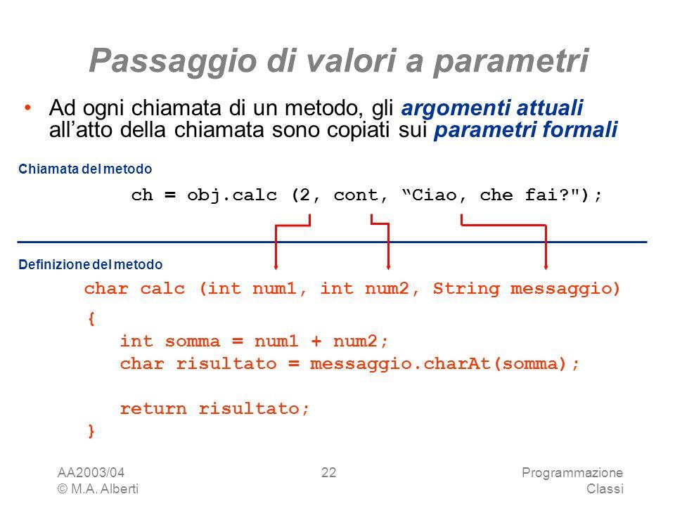 Passaggio di valori a parametri