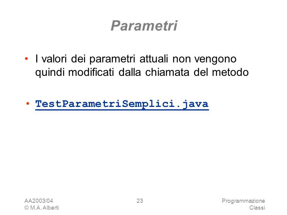 Parametri I valori dei parametri attuali non vengono quindi modificati dalla chiamata del metodo. TestParametriSemplici.java.