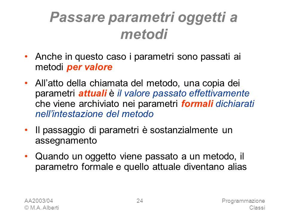 Passare parametri oggetti a metodi