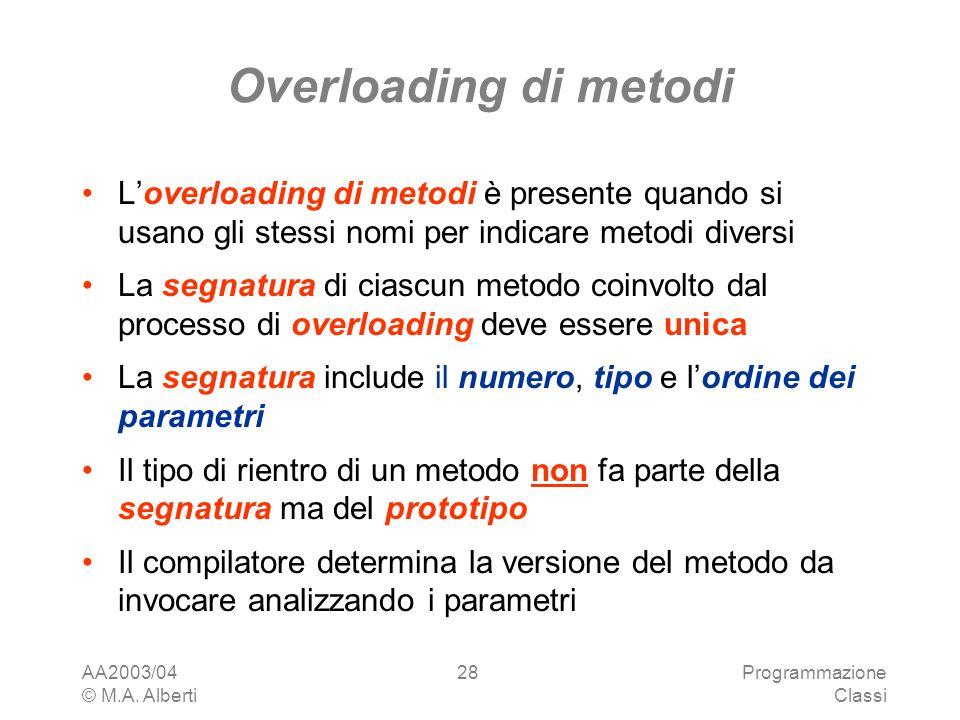 Overloading di metodi L'overloading di metodi è presente quando si usano gli stessi nomi per indicare metodi diversi.