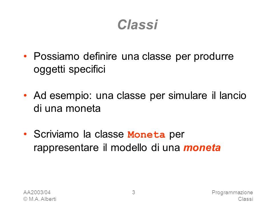 Classi Possiamo definire una classe per produrre oggetti specifici