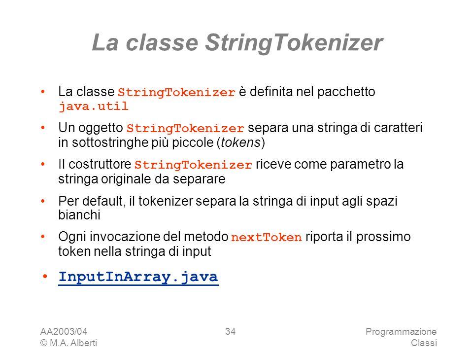 La classe StringTokenizer
