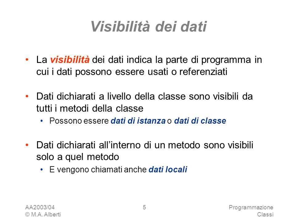 Visibilità dei dati La visibilità dei dati indica la parte di programma in cui i dati possono essere usati o referenziati.