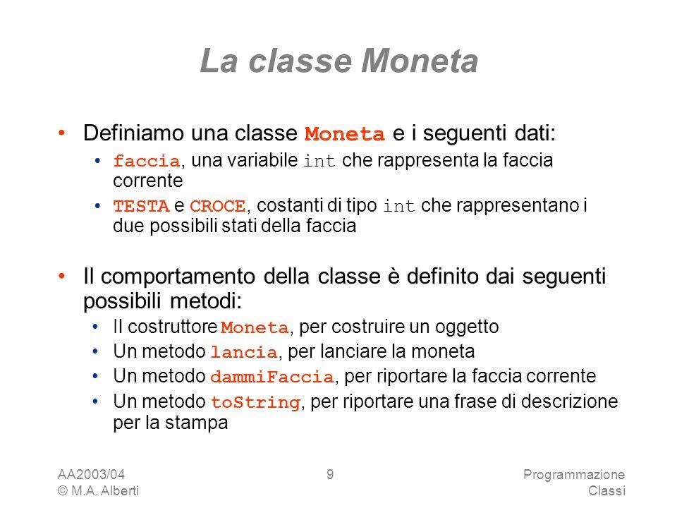 La classe Moneta Definiamo una classe Moneta e i seguenti dati: