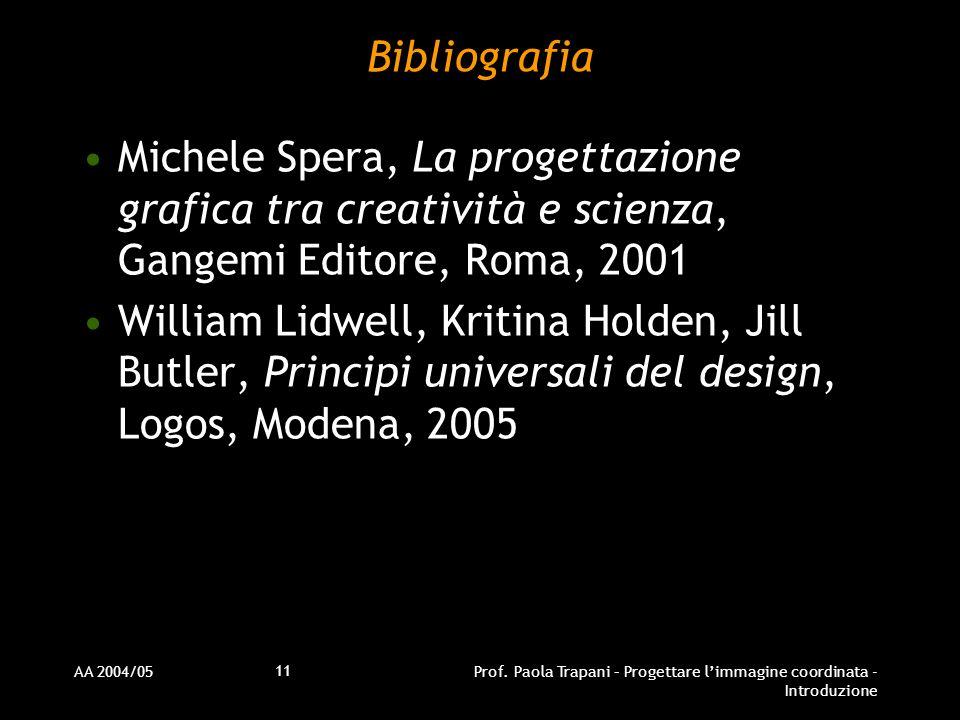 Bibliografia Michele Spera, La progettazione grafica tra creatività e scienza, Gangemi Editore, Roma, 2001.