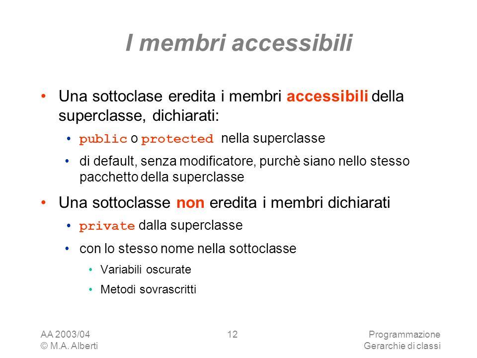 I membri accessibili Una sottoclase eredita i membri accessibili della superclasse, dichiarati: public o protected nella superclasse.