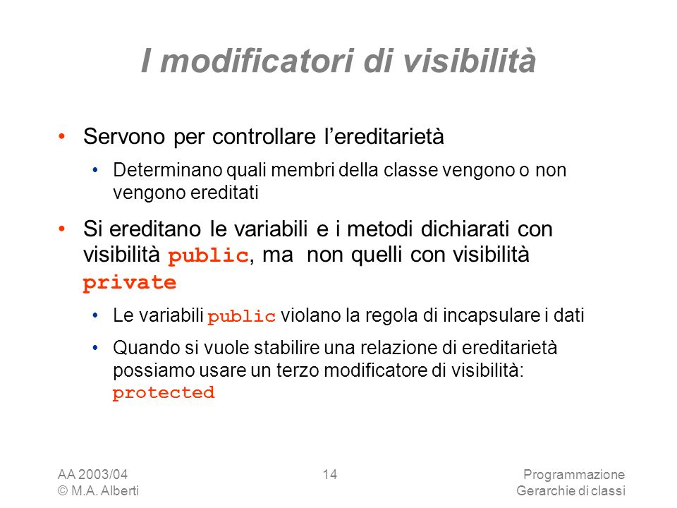 I modificatori di visibilità