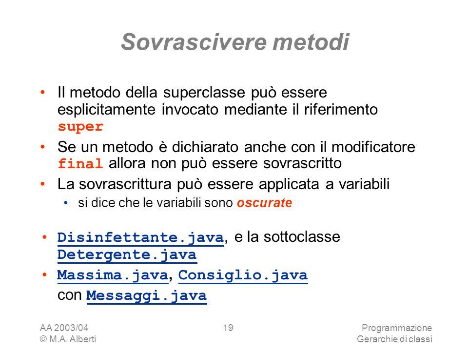 Sovrascivere metodi Il metodo della superclasse può essere esplicitamente invocato mediante il riferimento super.
