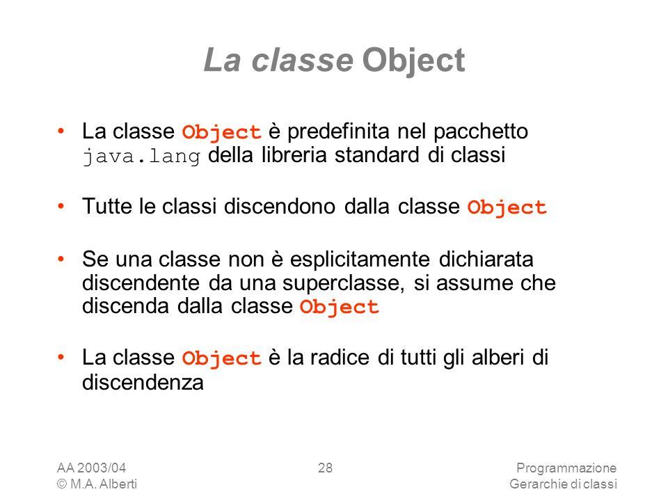 La classe Object La classe Object è predefinita nel pacchetto java.lang della libreria standard di classi.