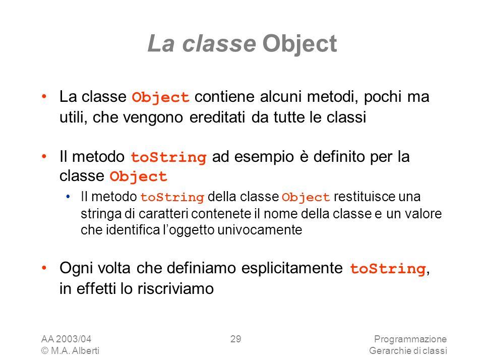 La classe Object La classe Object contiene alcuni metodi, pochi ma utili, che vengono ereditati da tutte le classi.