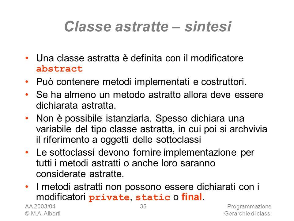 Classe astratte – sintesi