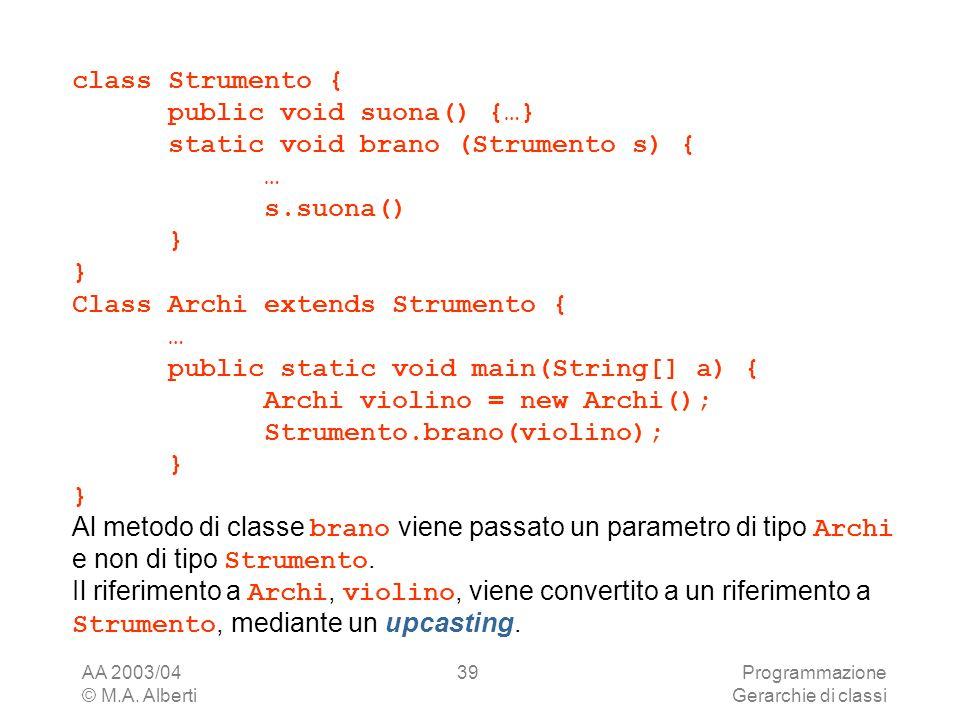 public void suona() {…} static void brano (Strumento s) { … s.suona()