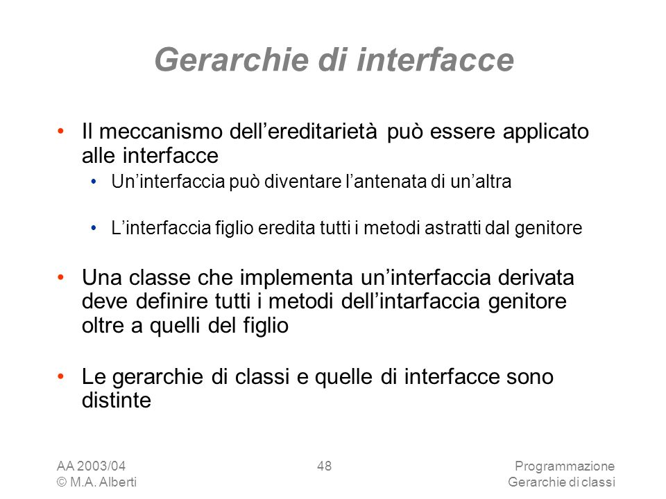 Gerarchie di interfacce