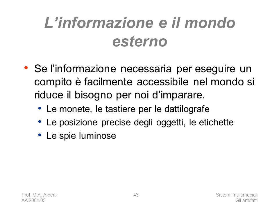 L'informazione e il mondo esterno
