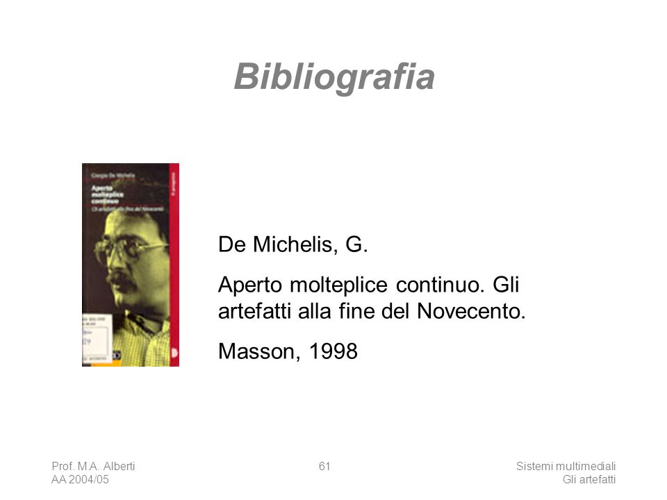 Bibliografia De Michelis, G.