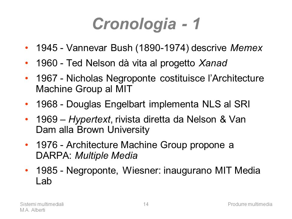Cronologia - 1 1945 - Vannevar Bush (1890-1974) descrive Memex