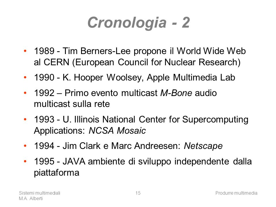 Cronologia - 2 1989 - Tim Berners-Lee propone il World Wide Web al CERN (European Council for Nuclear Research)