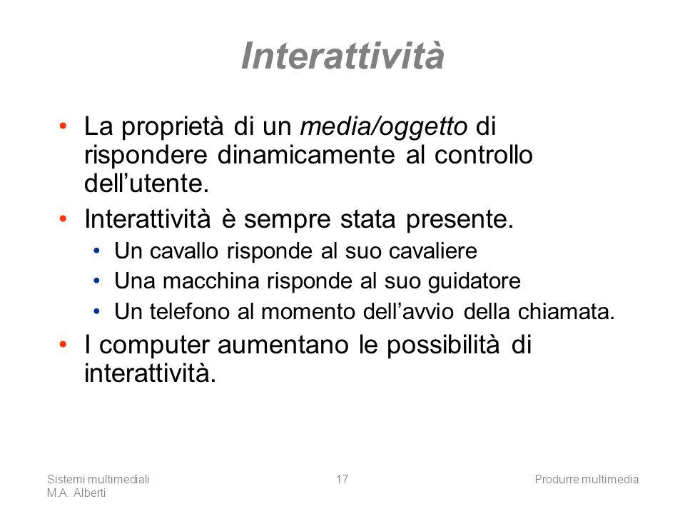 Interattività La proprietà di un media/oggetto di rispondere dinamicamente al controllo dell'utente.