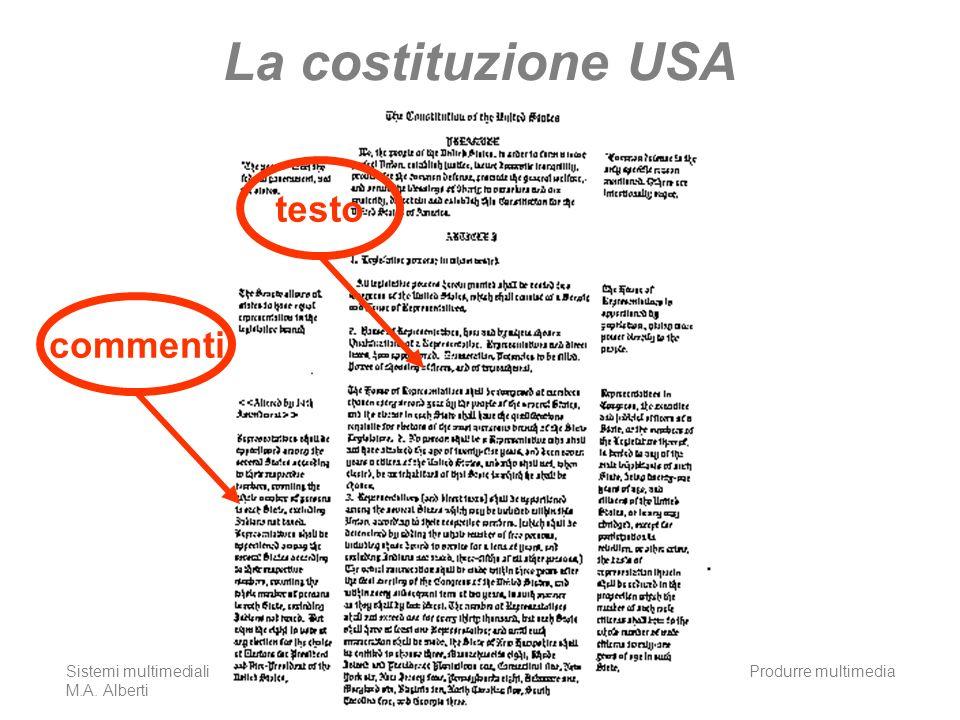 La costituzione USA testo commenti Sistemi multimediali M.A. Alberti
