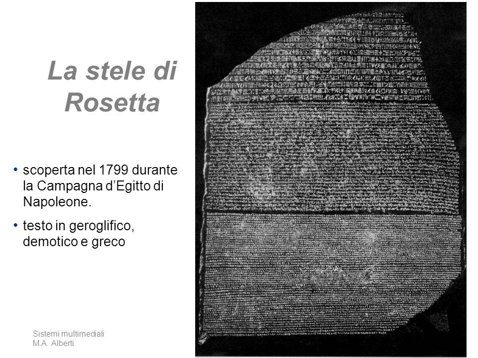 La stele di Rosetta scoperta nel 1799 durante la Campagna d'Egitto di Napoleone. testo in geroglifico, demotico e greco.