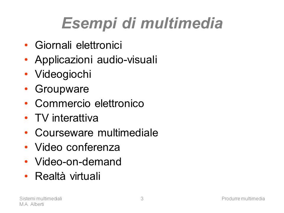 Esempi di multimedia Giornali elettronici Applicazioni audio-visuali