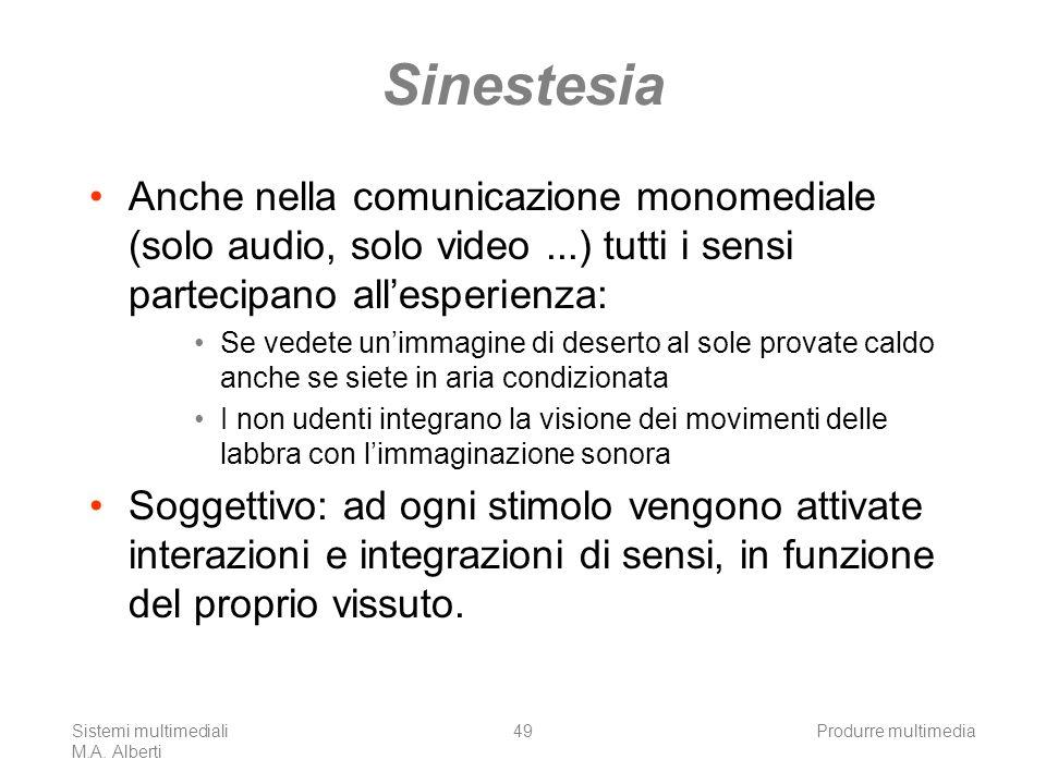 Sinestesia Anche nella comunicazione monomediale (solo audio, solo video ...) tutti i sensi partecipano all'esperienza: