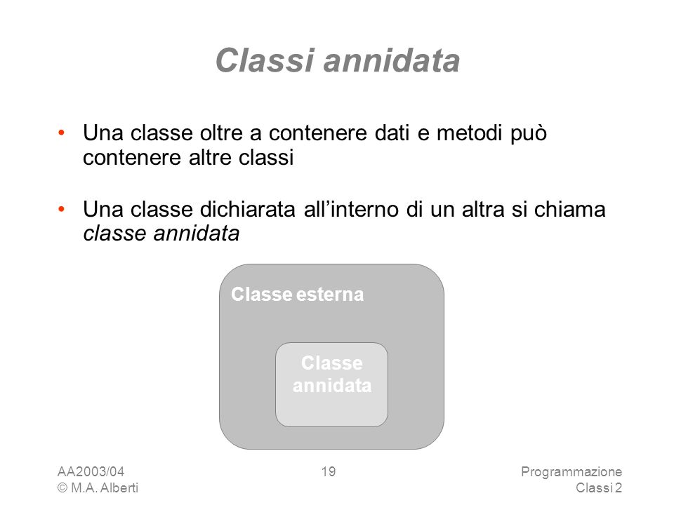 Classi annidata Una classe oltre a contenere dati e metodi può contenere altre classi.