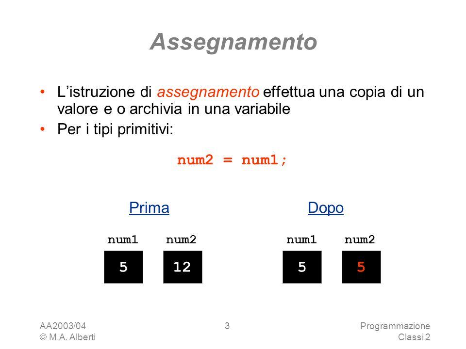 Assegnamento L'istruzione di assegnamento effettua una copia di un valore e o archivia in una variabile.