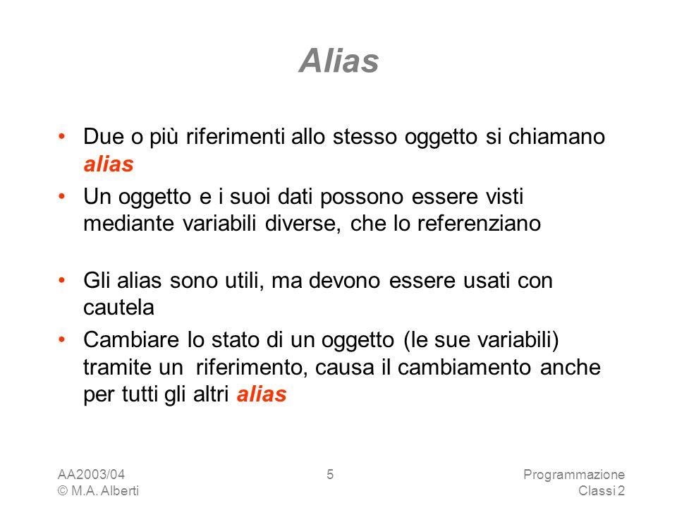 Alias Due o più riferimenti allo stesso oggetto si chiamano alias