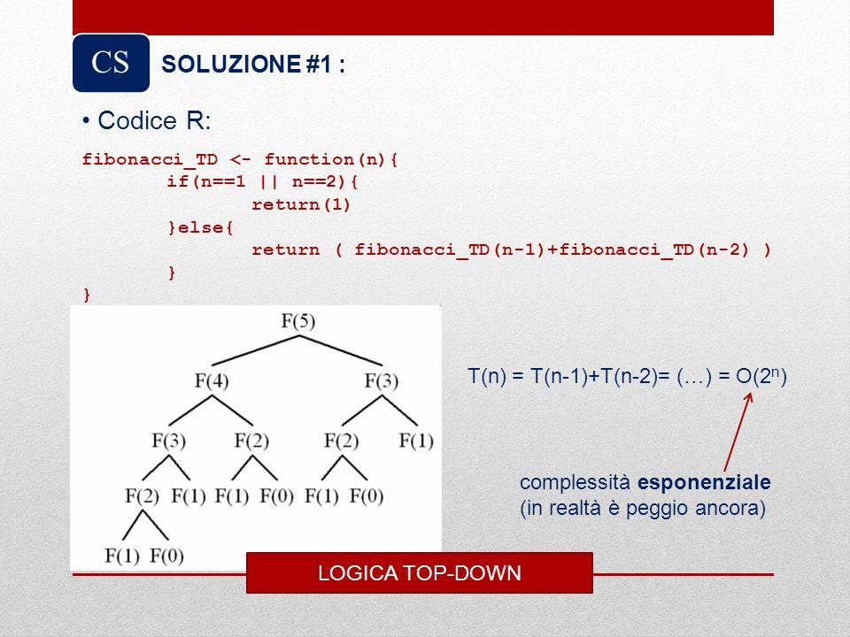 CS Codice R: SOLUZIONE #1 : T(n) = T(n-1)+T(n-2)= (…) = O(2n)