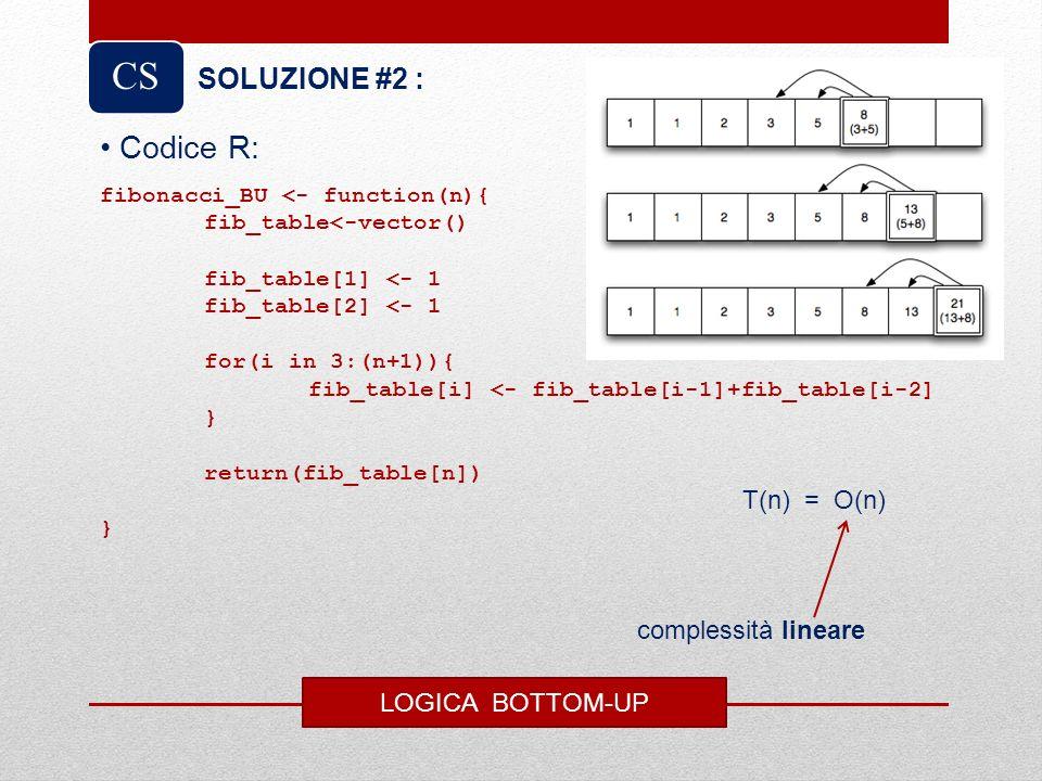 CS Codice R: SOLUZIONE #2 : T(n) = O(n) complessità lineare