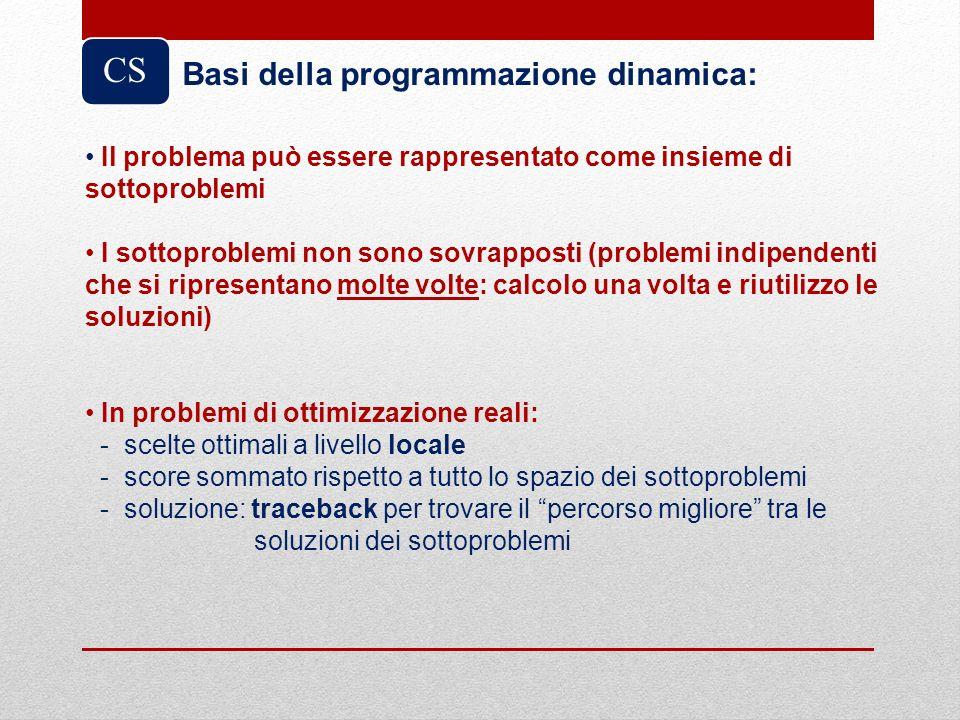 CS Basi della programmazione dinamica: