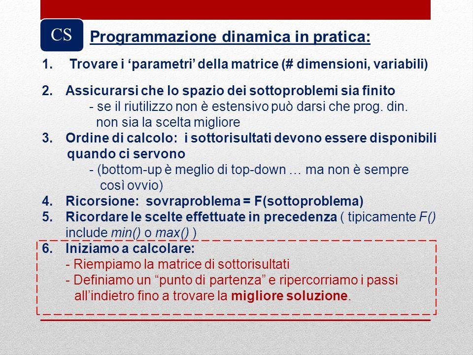 CS Programmazione dinamica in pratica:
