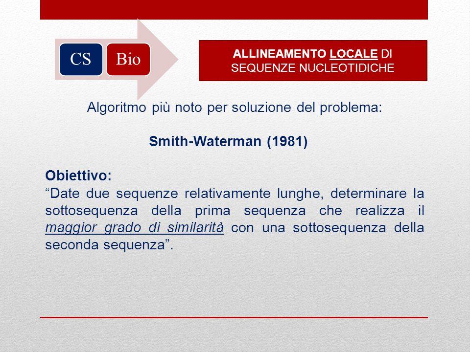 Bio CS Algoritmo più noto per soluzione del problema: