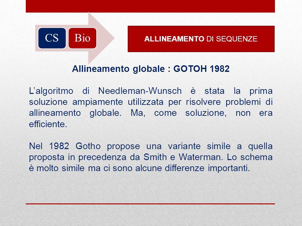 Allineamento globale : GOTOH 1982
