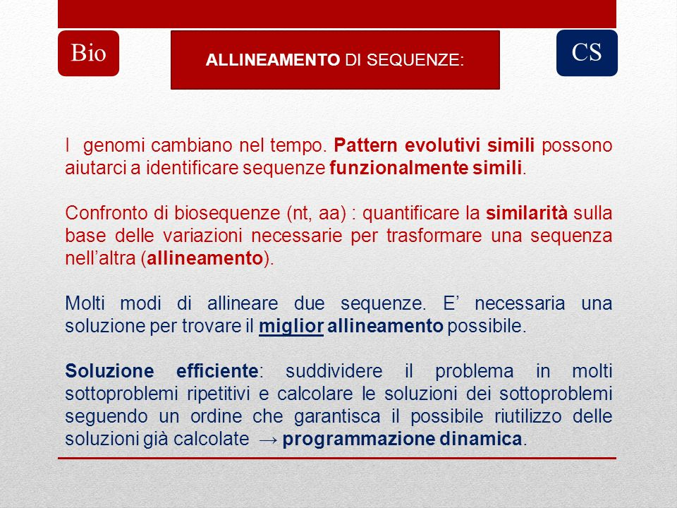 ALLINEAMENTO DI SEQUENZE: