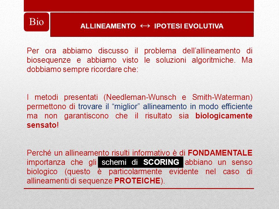 ALLINEAMENTO ↔ IPOTESI EVOLUTIVA