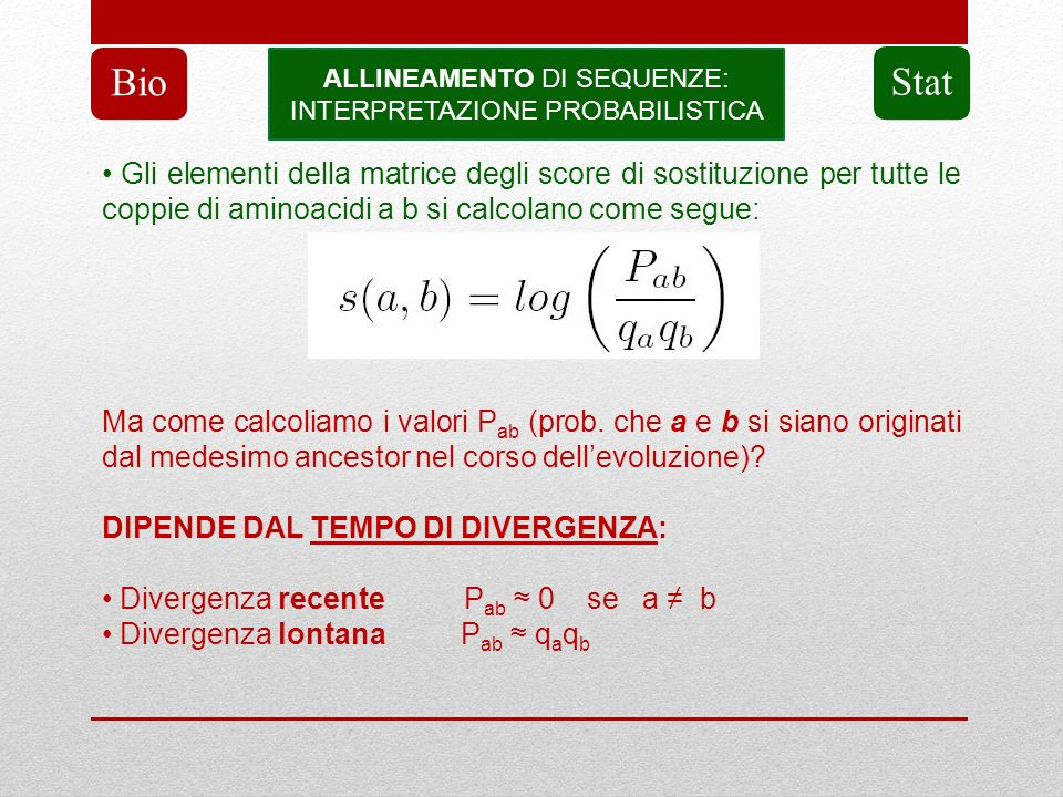 Bio ALLINEAMENTO DI SEQUENZE: INTERPRETAZIONE PROBABILISTICA. Stat.