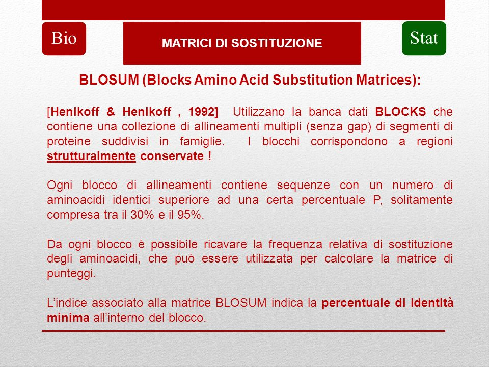 Bio Stat BLOSUM (Blocks Amino Acid Substitution Matrices):