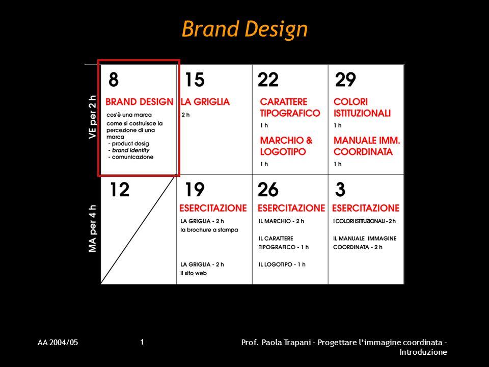 Brand Design AA 2004/05 Prof. Paola Trapani – Progettare l'immagine coordinata - Introduzione