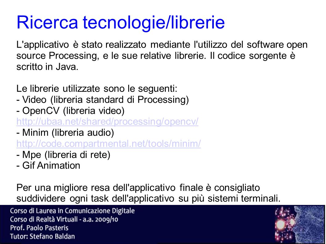 Ricerca tecnologie/librerie