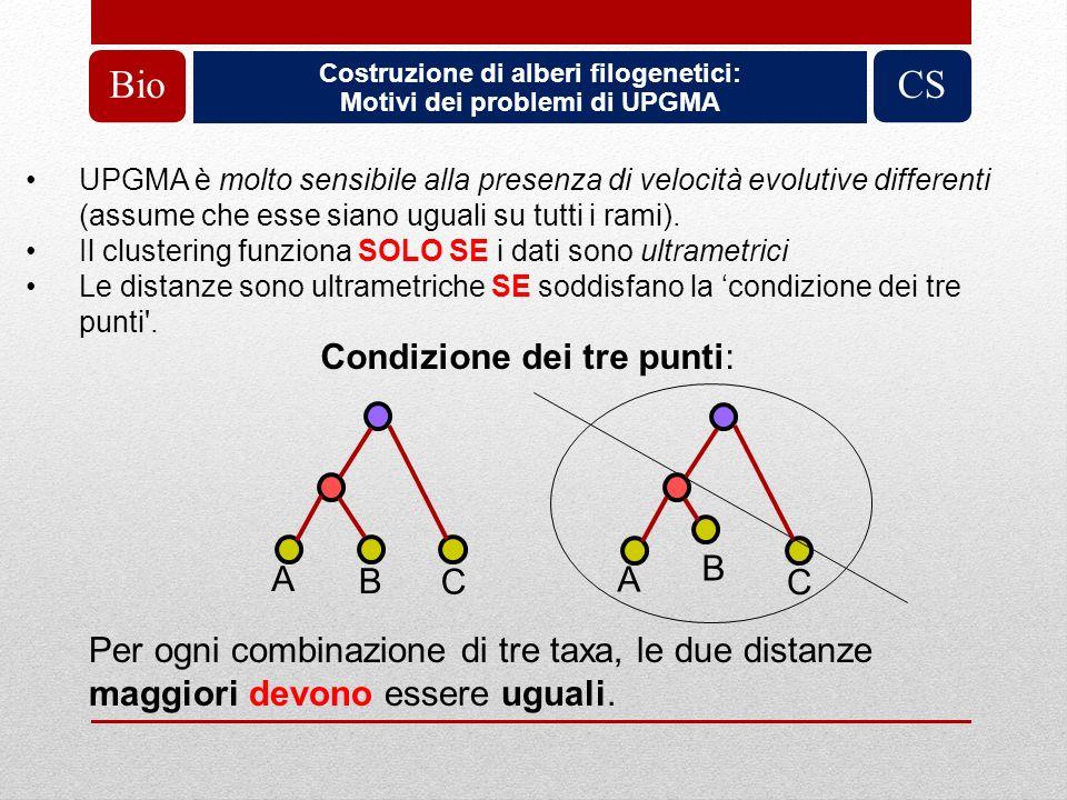 Costruzione di alberi filogenetici: Motivi dei problemi di UPGMA