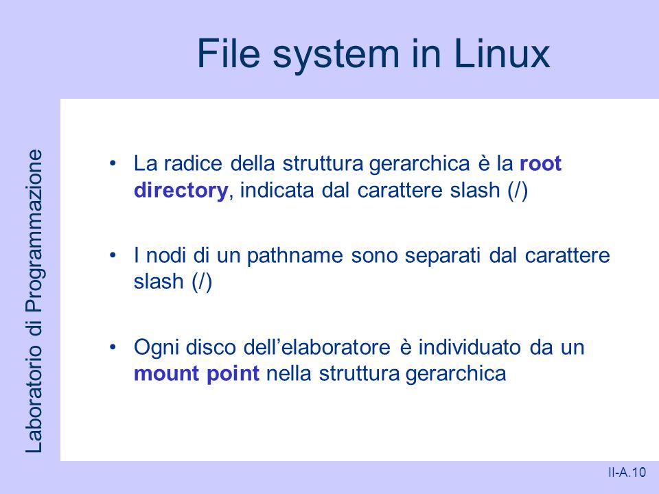 File system in Linux La radice della struttura gerarchica è la root directory, indicata dal carattere slash (/)