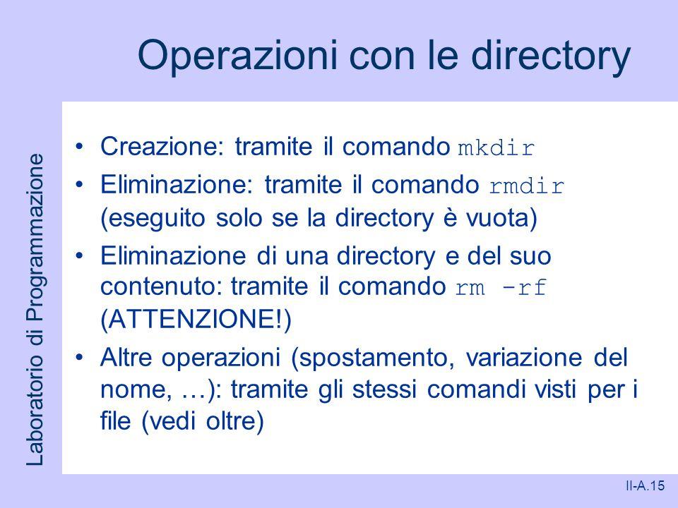 Operazioni con le directory