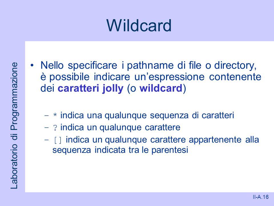 Wildcard Nello specificare i pathname di file o directory, è possibile indicare un'espressione contenente dei caratteri jolly (o wildcard)