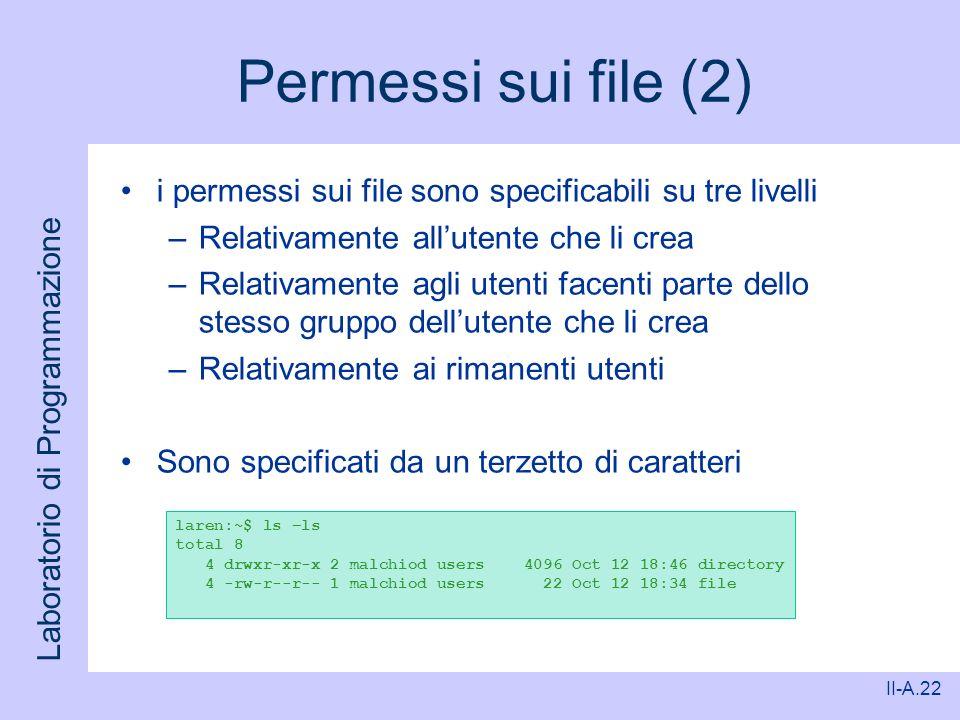 Permessi sui file (2) i permessi sui file sono specificabili su tre livelli. Relativamente all'utente che li crea.